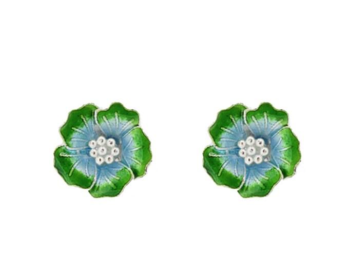Enamel Green Flower-Chinese Jewellery-Enamel Flower-Filigree Jewellery-Handcrafted Jewellery