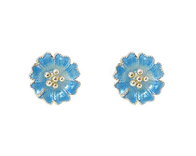 Little Blue Flower Series-Enamel Flower-Silver-Flower-Flower Ear Studs
