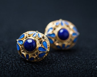 Sterling Silver Core With gold plated surface Set Lapis Earrings
