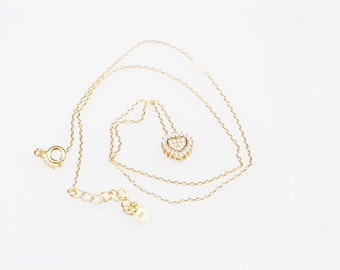18k Gold Plated Sterling Silver Necklace with crystal - gift for girls