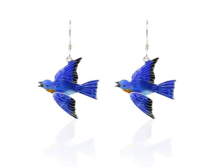 Blue Bird - Enamel Earrings - Nature - Bird - Garden - Animal - Christmas gift - for girls