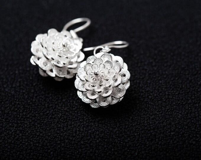 Fine Silver Filigree Earrings-Flower Dangle Earrings-Silver Filigree Earrings