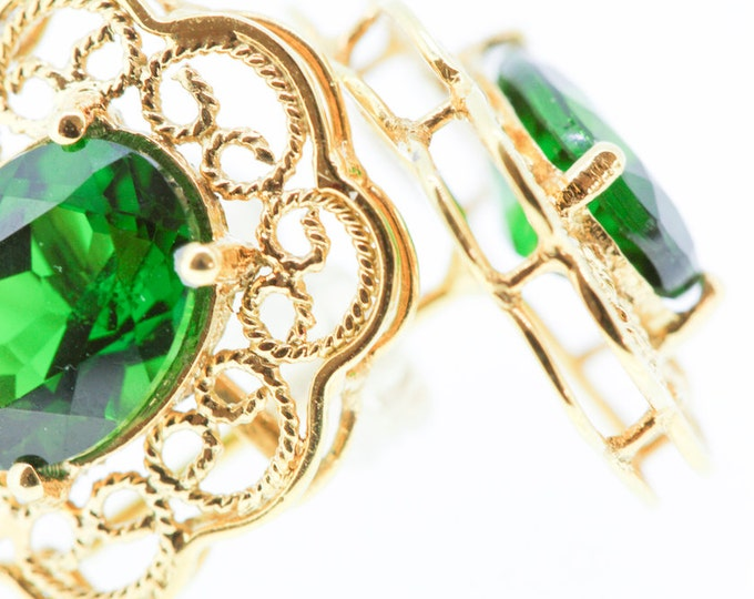 18K Gold filigree earrings - hallmarked 18k gold - light and airy beauty - hand woven wire filigree - diopside green gemstones