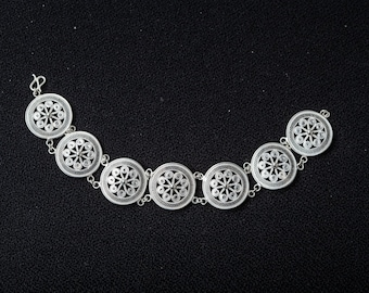 Fine Silver Filigree Drum pattern Bracelet