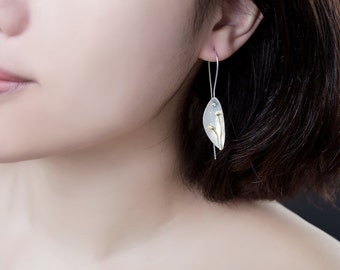 Sterling Flower Petal Earrings - delicate petal dangling from ear - cute and light - art jewellery