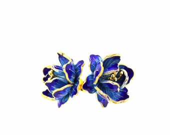 Lotus flowers-Blue enamel earrings-Flower earrings