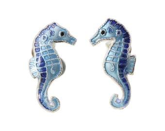 Sea Horse Ear Studs-Enamel Ear Studs-Hippocampus