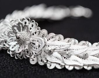 Fine Silver Bracelet-Filigree Chain Bracelet