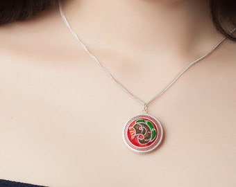 Colourful silk thread wrapped over silver filigree - unique pendant evoking traditional Oriental art