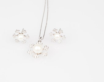 Silver snowflake pearl crystal suite - earrings and necklace - delicate, cool, and fine-fresh water cultured pearl jewellery