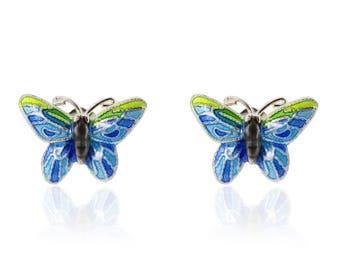 Enamel Blue Butterfly-Chinese Jewellery-Enamel Dragonflyy-Filigree Jewellery-Handcrafted Jewellery