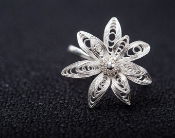 """Fine silver ring -handmade filigree """"flower pedal"""" ring - pure silver solid silver-Gifts for her- Youth"""