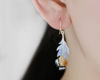 Enamel feather earrings-Silver earrings-Christmas Gift for Women