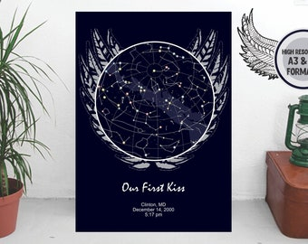 Night Sky Map Download Find Planets In The Sky Electronic Star Etsy