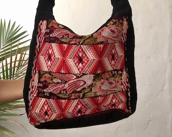 Embroidered Woven Hobo Bag