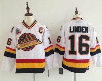 192ad0f30f0 New Trevor Linden Stitched thowback vintage Vancouver Canucks Hockey Jersey.