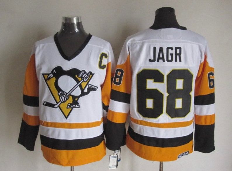 quality design 31109 05751 New Jaromir Jagr Men's retro Vintage Pittsburgh Penguins Hockey jersey.