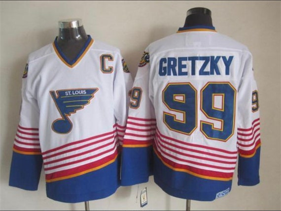 new styles 7861a 326ea New Gretzky Stitched throwback Vintage Hockey jersey.Saint Louis Blues