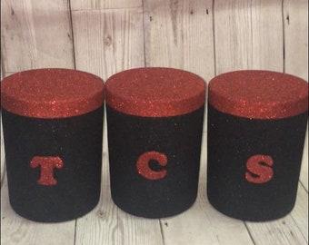 Attractive Black And Red Kitchen Storage Canisters, Black And Red Kitchen Decor, Black  Tea Coffee Sugar, Black And Red Home Decor, Kitchen Storage