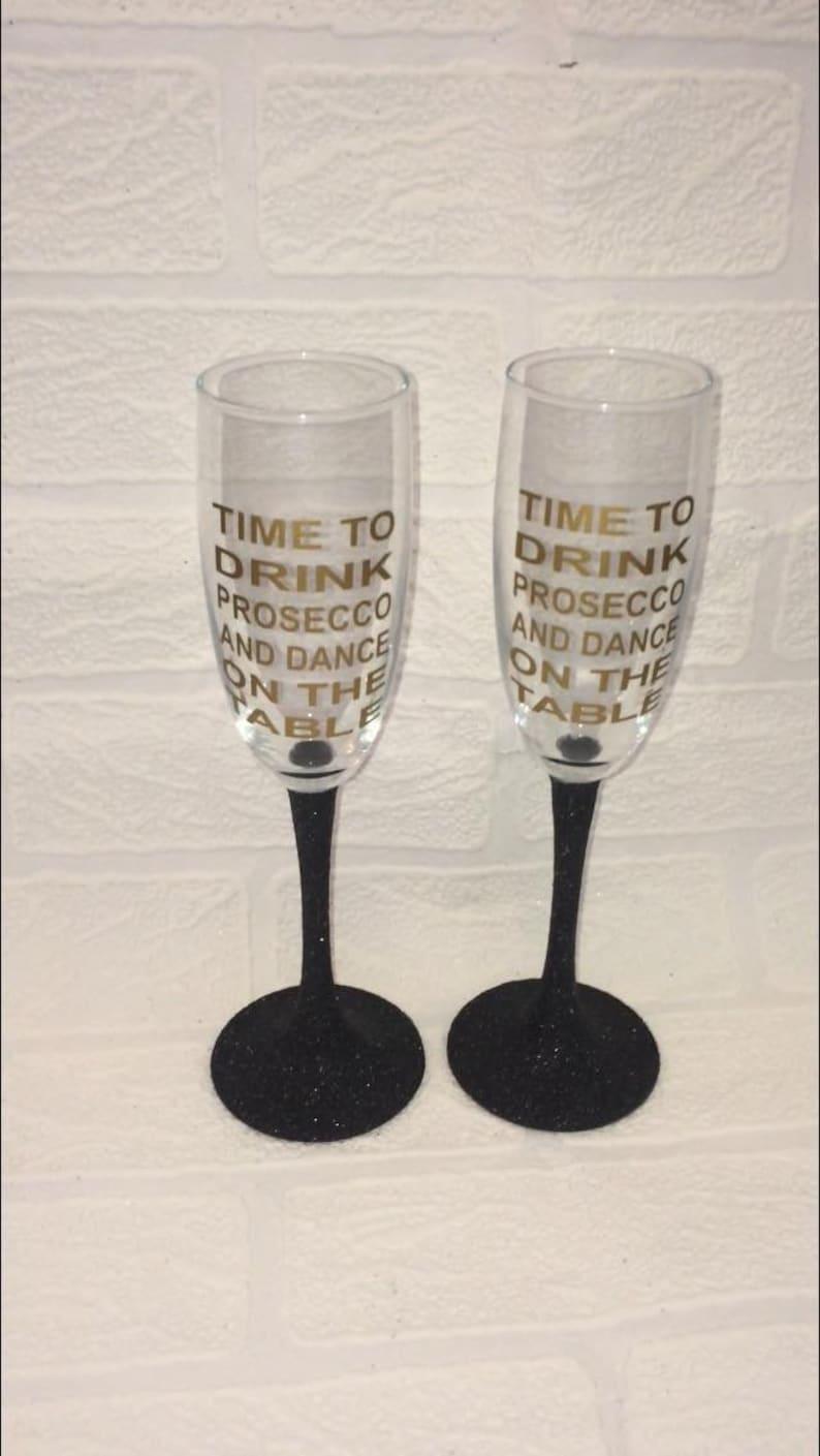 7cbdadc56ce8 Prosecco quote champagne glasses set of 2 glitter champagne