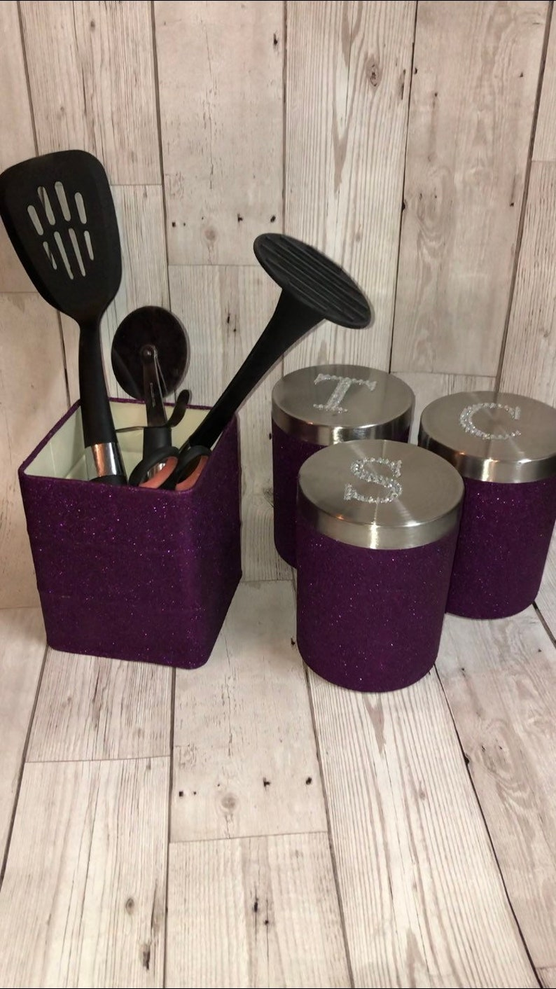 purple kitchen accessories, utensil holder, tea coffee sugar canisters,  kitchen set, glitter home decor, storage jars, set of 4, gift idea