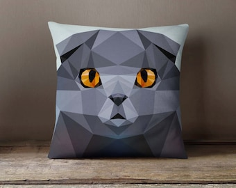 Geometric Cat Scottish Fold Pillowcase | Decorative Throw Pillow Cover | Cushion Case | Designer Pillow Case | Gift Idea For Him & Her