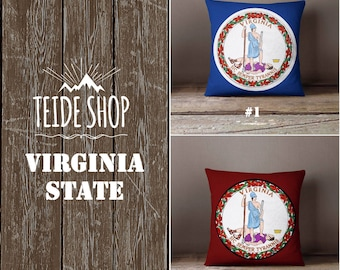 Virginia State Pillowcase Virginia Flag USA Home Decor Richmond Virginia Throw Pillow Cover Native American Gift Patriotic Decor Pillow Case