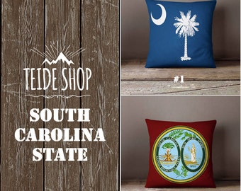 South Carolina State Pillowcase South Carolina Flag Home Decor Columbia Throw Pillow Cover Native American Gift Patriotic Decor Pillow Case