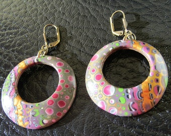 Pink and gold polymer clay earrings