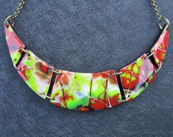 Polymer clay necklace. Choker necklace. Fimo necklace. Pendant.