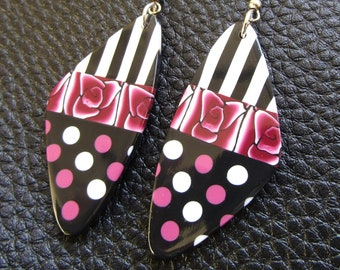 Pink, black and white polymer clay earrings