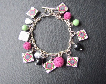 Polymer clay fantasy charm bracelet