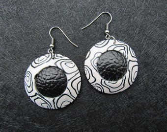 Black and white polymer clay earrings