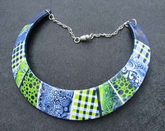 Blue, green and white polymer clay bib necklace