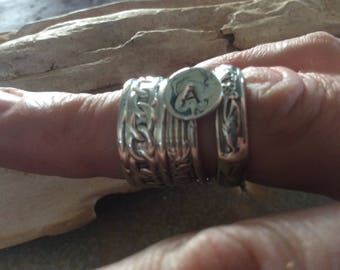 Sterling Silver Stackable Initial Rings, stackable rings, initial rings, ring bands, custom jewelry, boho rings, custom rings