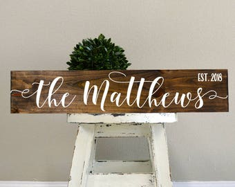 Bridal Shower Gift, Last Name Sign, Anniversary Gift, Gift for Bride, Wedding Gift, Personalized Gift, Christmas Gift for Wife