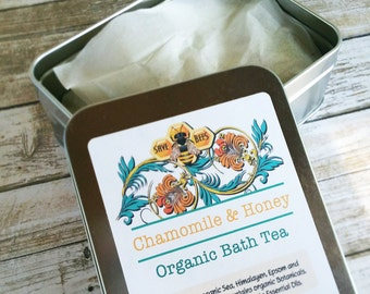 Chamomile and Honey Organic Bath Tea / Natural Bath Salts / Bath Soak / Sea Salt / Detox bath Salts / Bath Products / three 2 oz. bags