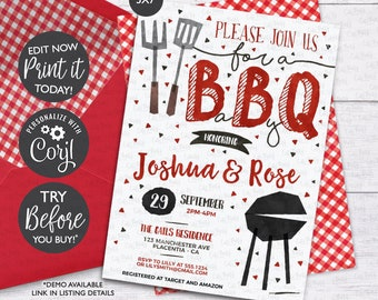 INSTANT DOWNLOAD, Editable BBQ Baby Shower invitation Red Barbecue co-ed baby shower corjl Invitation babyq editable digital download 201
