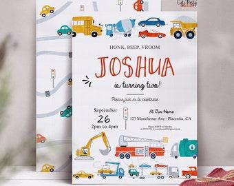 Transportation Birthday invitation, Editable printable truck car birthday invite , INSTANT DOWNLOAD, Transportation party invitation, #509