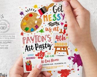 Art party Birthday invitation, Painting Birthday invite, Artsy party printable invitation, Artist Palette INSTANT DOWNLOAD, EDITABLE #478
