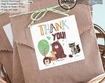 INSTANT DOWNLOAD - Woodland Favor tags Woodland Favors decorations Woodland thank you tag Woodland Animals party decor Woodland decor