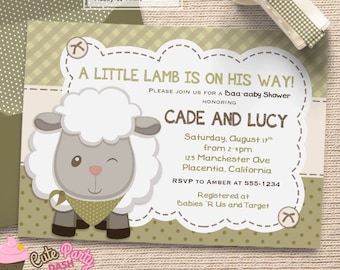 Boys Little Lamb Baby Shower invitations little Sheep boys DIY printable couples baby shower invite
