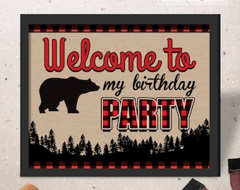 INSTANT DOWNLOAD - Lumberjack Birthday party welcome sign door sign Lumberjack Party decorations printables