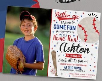 Baseball Birthday Party Photo invitations Baseball Birthday invitations Printable Watercolors birthday invitations Baseball Invite