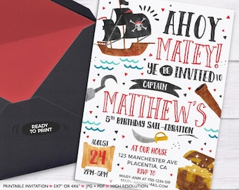Pirate Birthday invitation DIY Pirate Party invitation Ahoy Matey printable invitation pirate Invitation