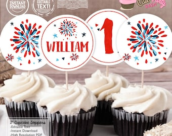 INSTANT DOWNLOAD - EDITABLE 4th of July cupcake toppers Independence day 4th of July Birthday cupcake topper Favor tags decor