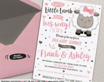 Little Lamb Baby Shower invitation Sheep Baby Shower Invitation printable couples co-ed baby shower invitation pink brown sheep Invitation