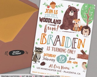 Woodland Birthday Invitation DIY Forest Animals Party Watercolors Fox