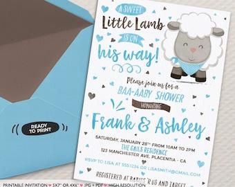 Boys Little Lamb Baby Shower invitation boys Sheep Baby Shower Invitation printable couples co-ed baby shower invitation blue brown sheep