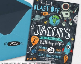 astronaut party invitations - 700×700